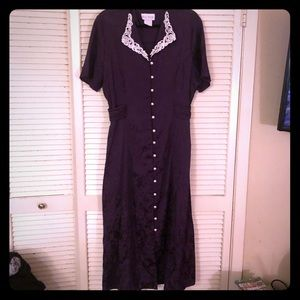 {Vintage}EUC purple brocade button down maxi dress